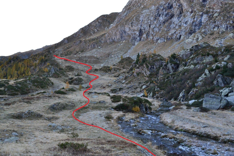la breve discesa verso il torrente dal punto in cui si abbandona il sentiero segnalato