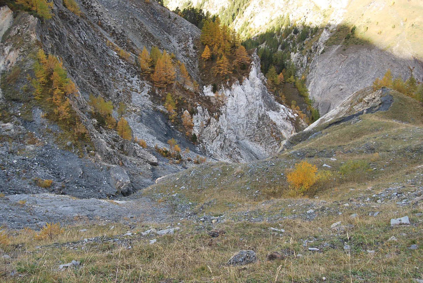 La gola del Torrente Curru, il tratto più delicato con ghiaccio