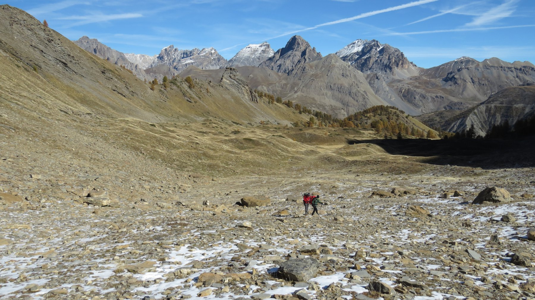 risalendo il Vallon de Font Crèse a quota 2400 m (17-10-2015)