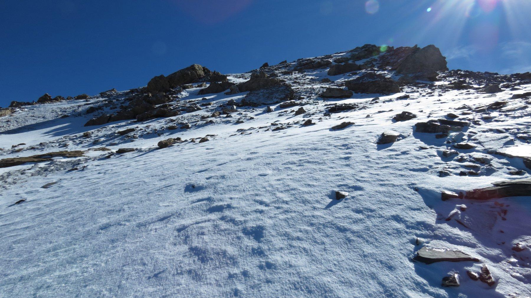 il tratto finale della cresta NO poco prima di arrivare in cima