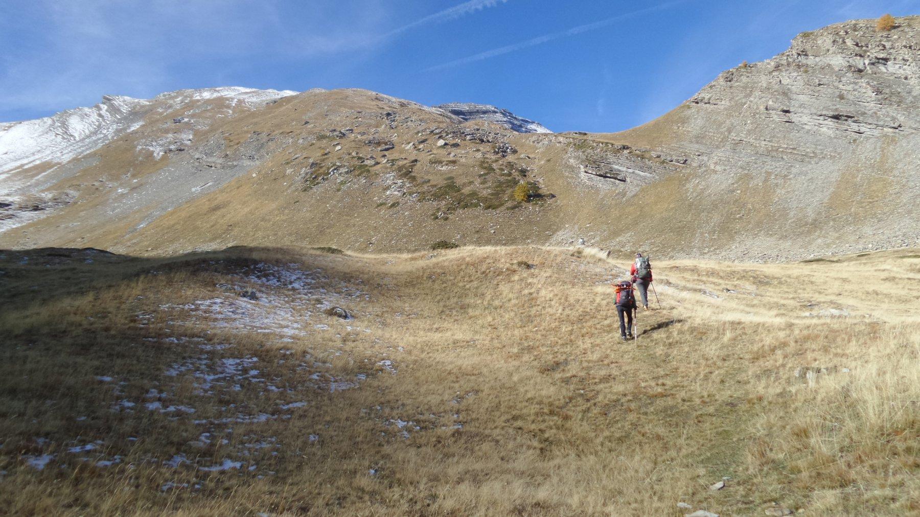 risalendo il tratto erboso e pianeggiante a quota 2300 m nel Vallon de Font Crèse (17-10-2015)