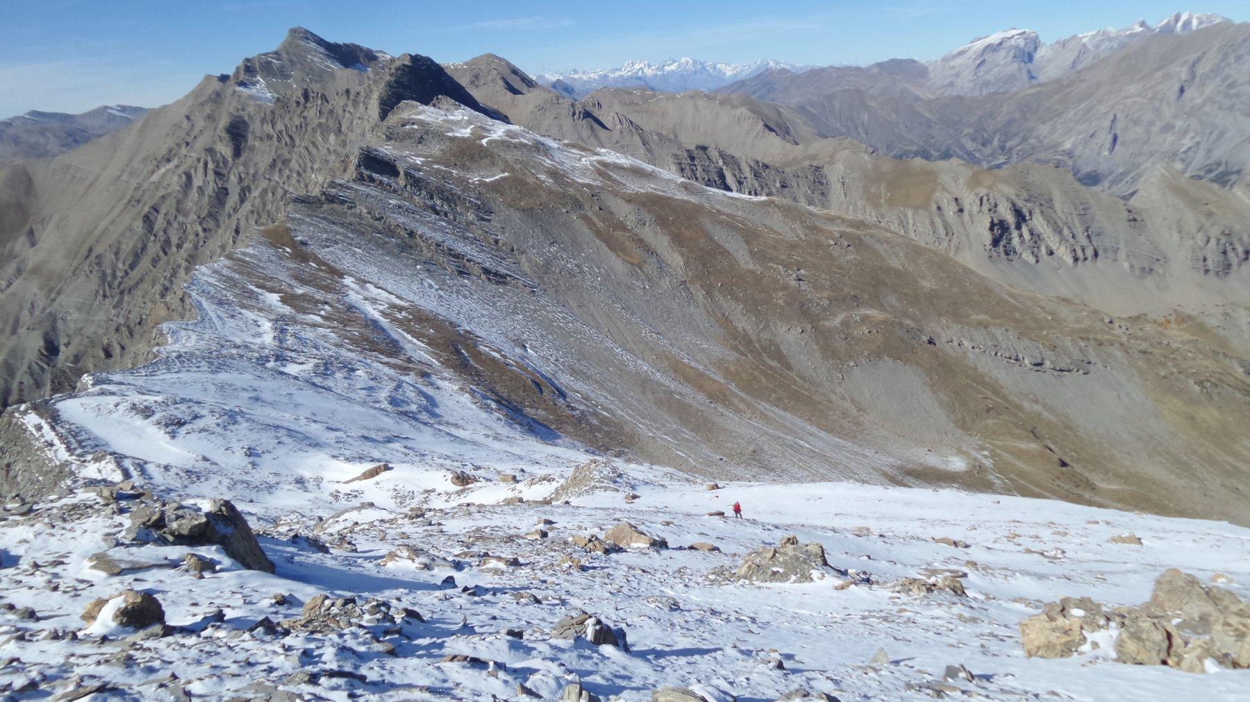 la parte alta della via di salita alla cima