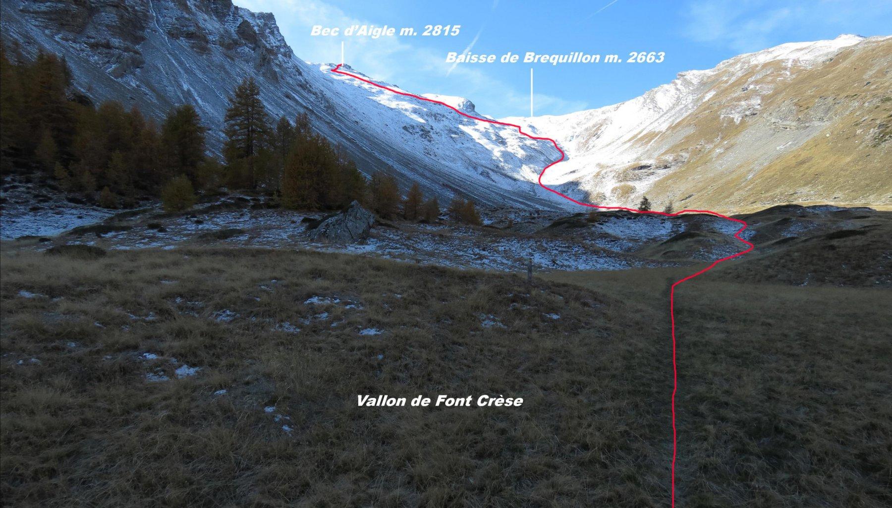 parte alta del Vallon de Fon Crèse e itinerario di salita per la cima (17-10-2015)