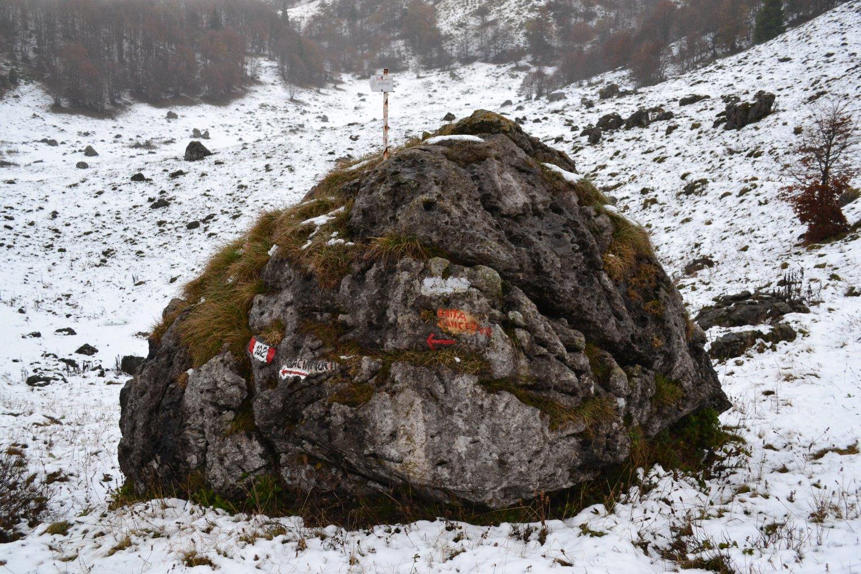 indicazioni: a sinistra per la Baita Cancervo, a destra per l'omonimo monte