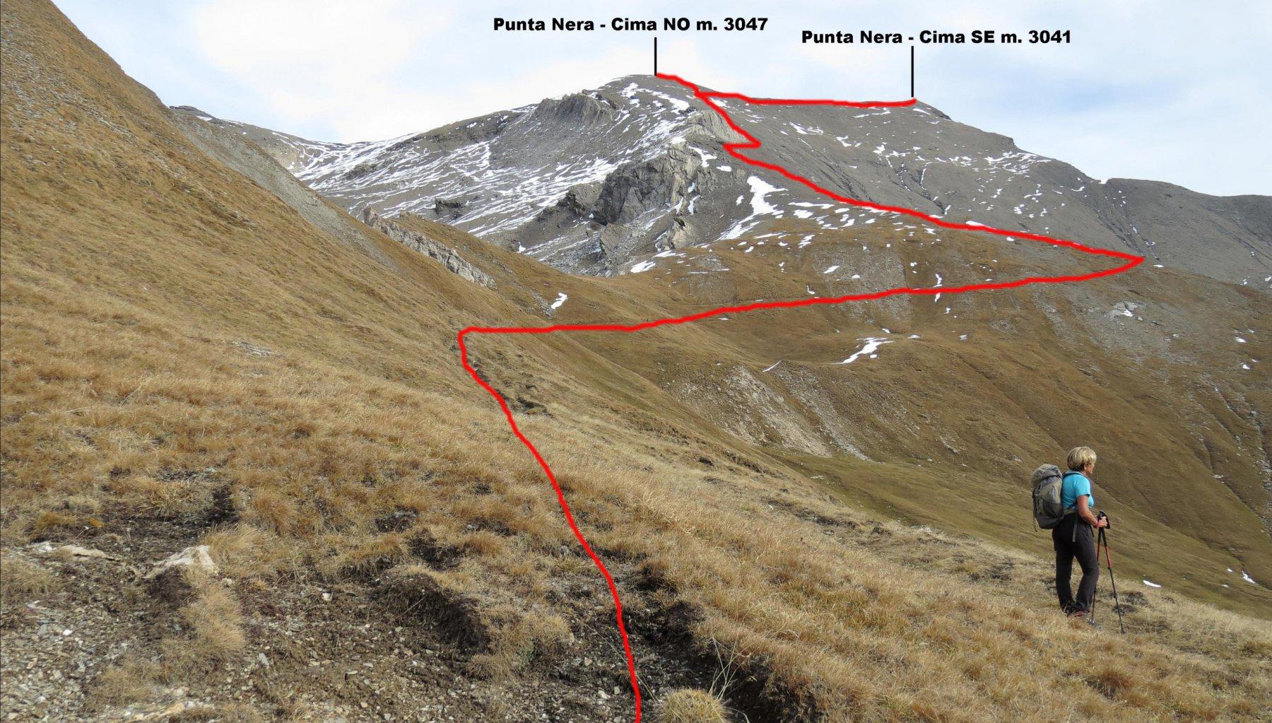 il tracciato della parte alta del nostro itinerario di salita (24-10-2015)