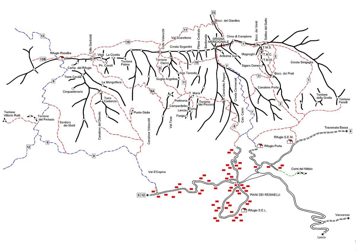 Mappa della Grignetta (© web)