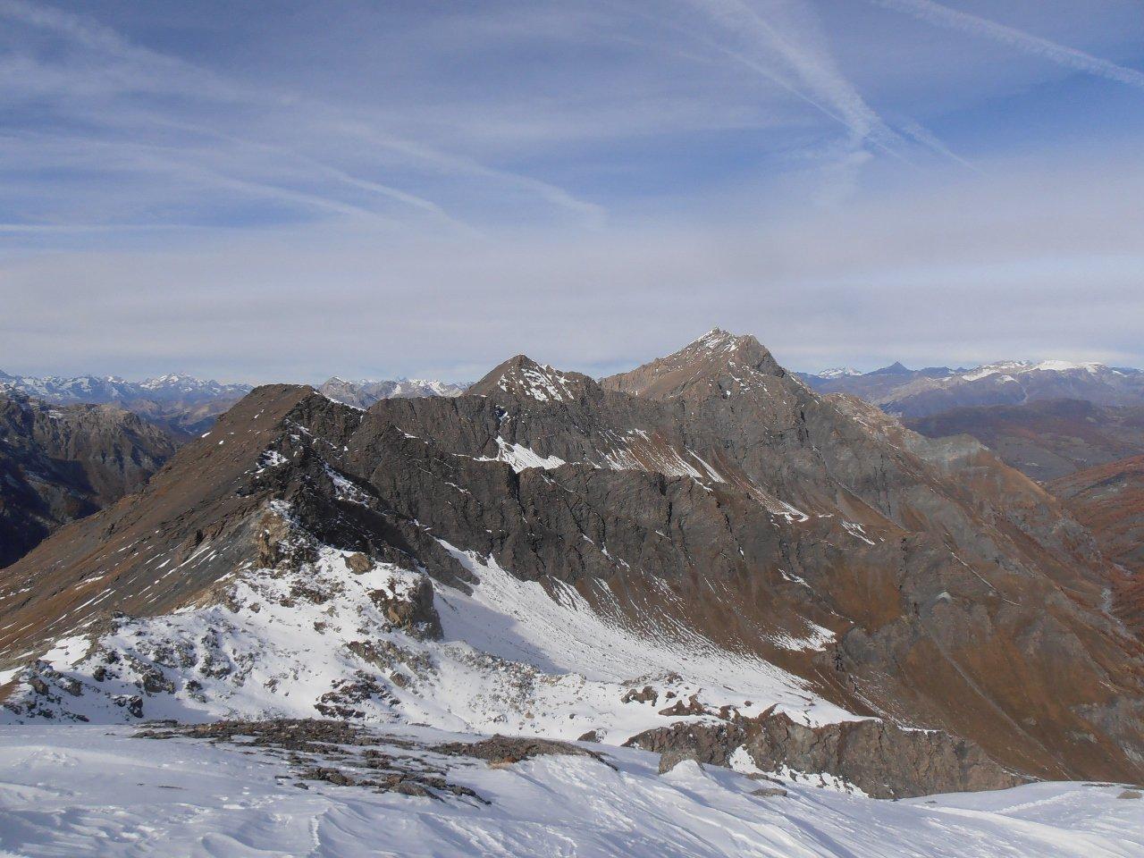 10 - dalla cima verso il Col Clapis e la cresta fino alla Rognosa del Sestriere