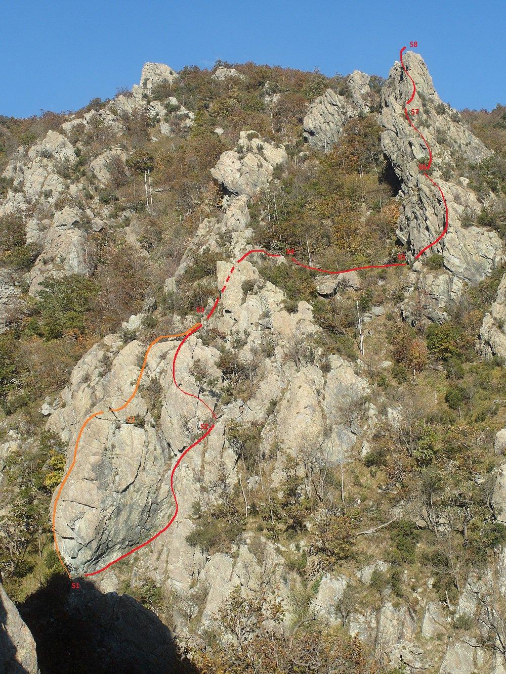 schizzo del percorso, visto dal versante opposto del torrente, sulla via Zunino
