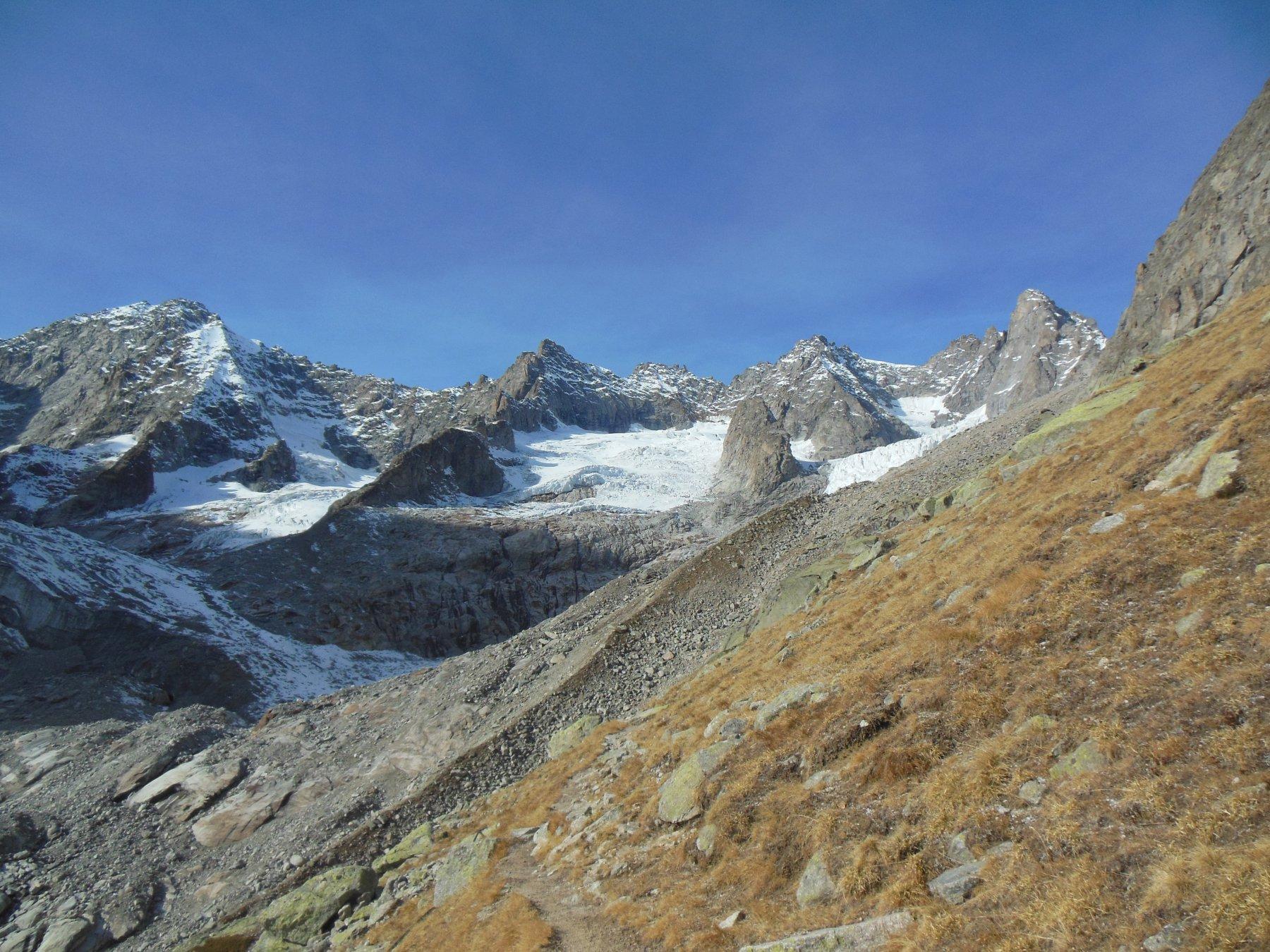 le numerose Aiguille sul ghiacciaio del Triolet