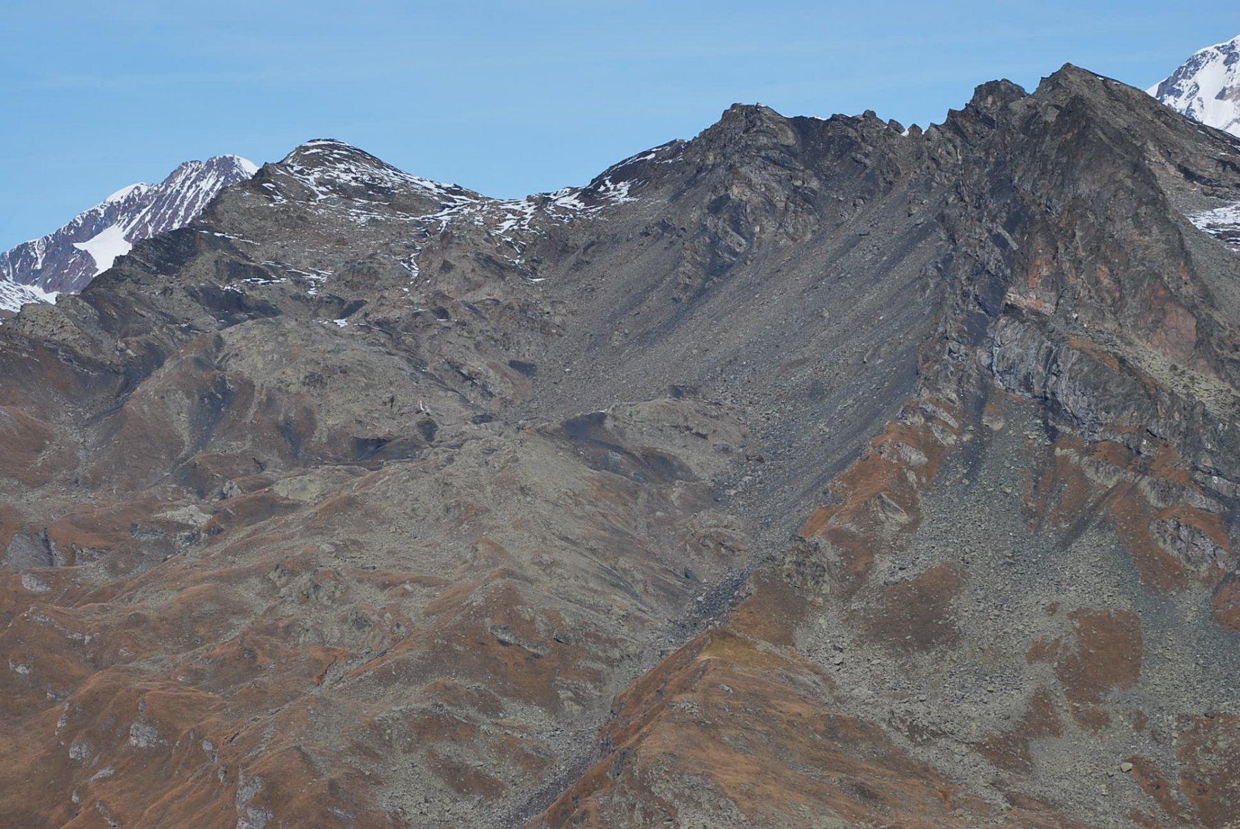 Dalla cresta sotto l'Aig. Clapet: Combe Mechandeur, Col e Aig. Vieis, Miravidi