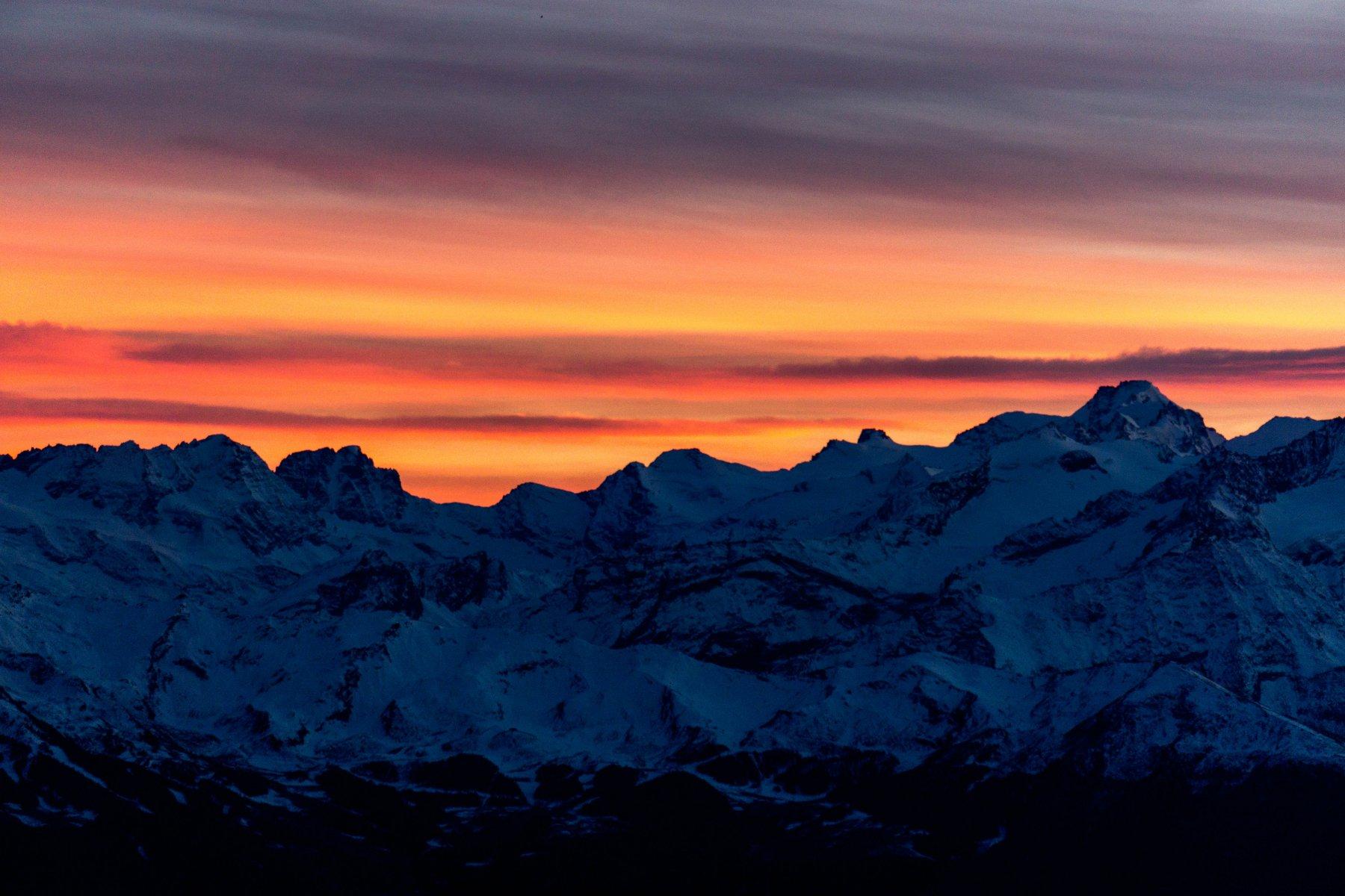 tramonto sul gran paradiso
