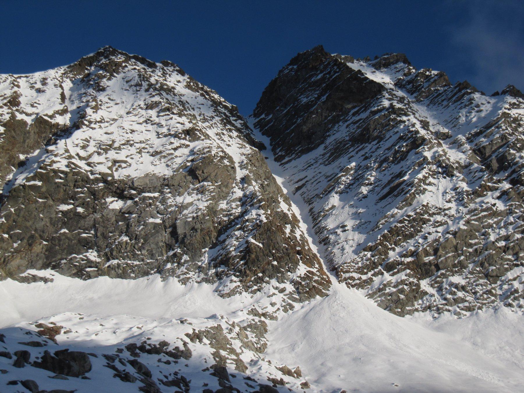 Il canalone ovest dal bacino glaciale di Lavina