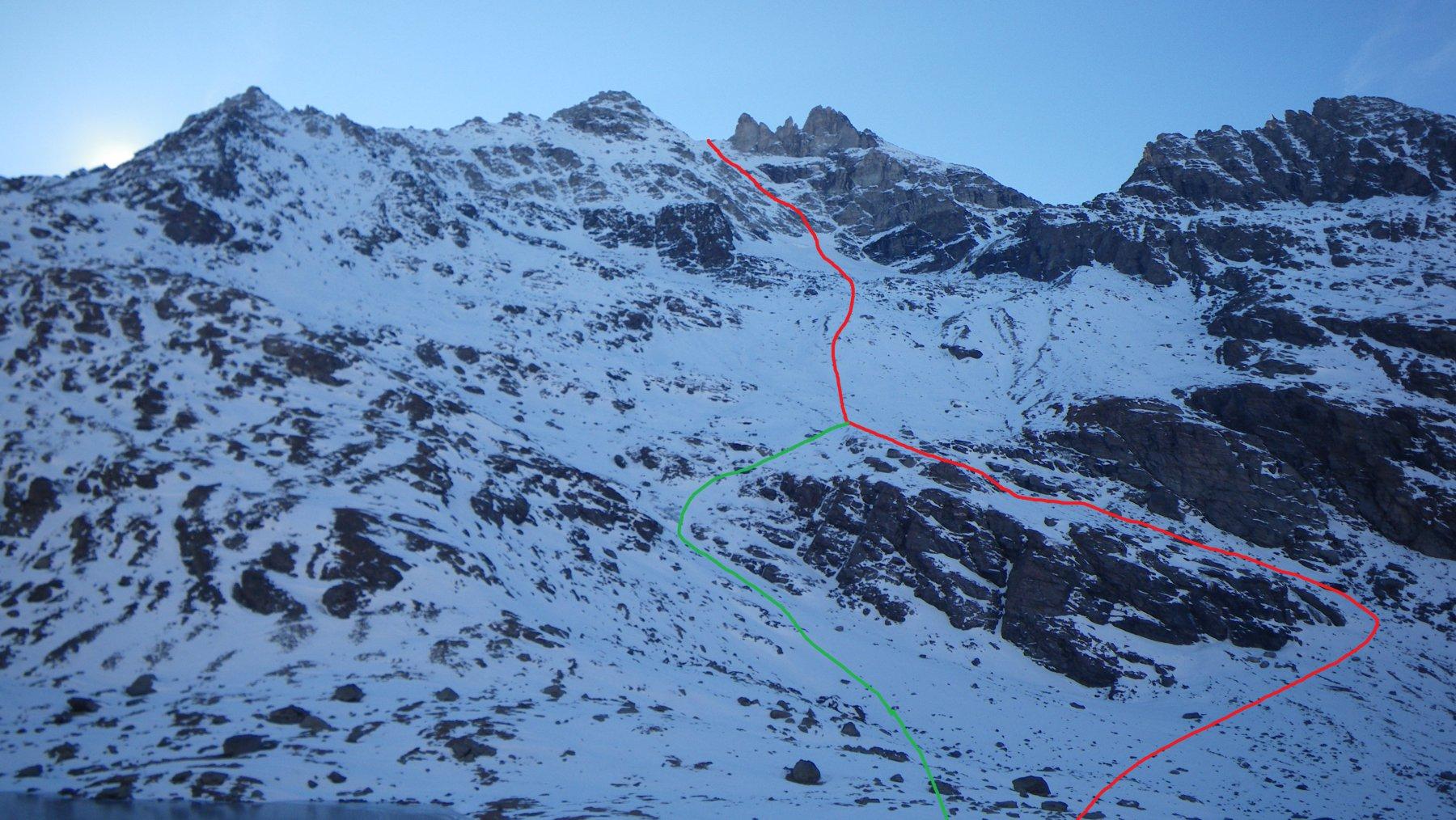 In rosso l'itinerario meno diretto per cascatlle ddi ghiaccio, In Blu quello più diretto