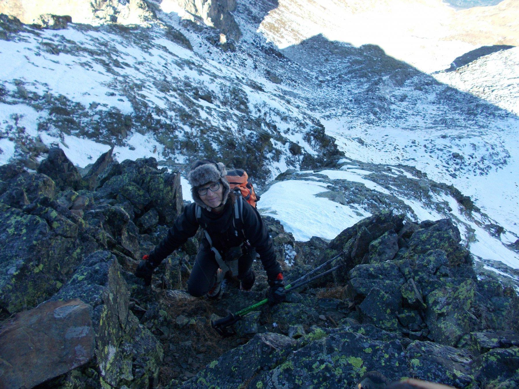 il tratto alpinistico sotto la Punta del Lago sud..
