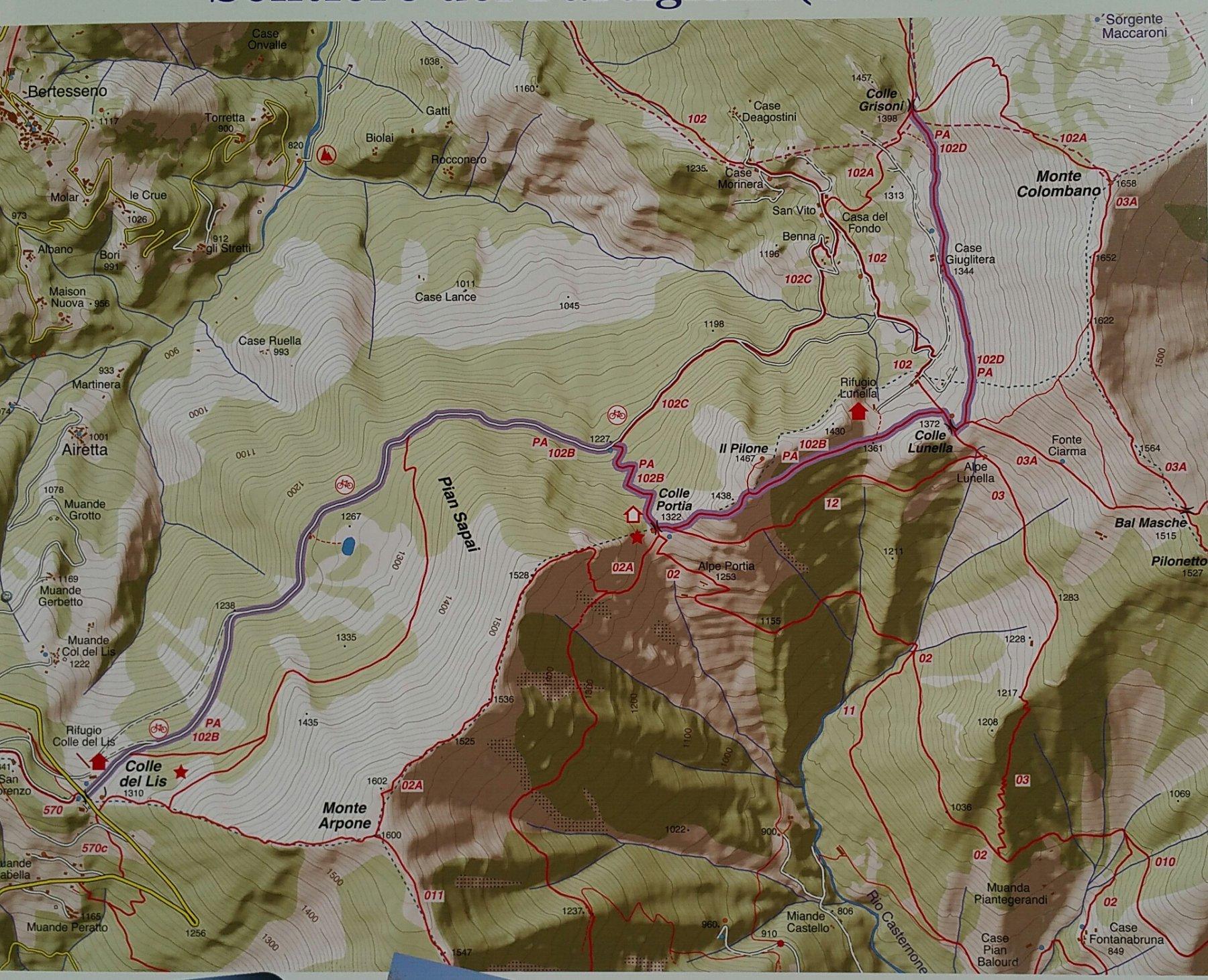 Cartina sentieri