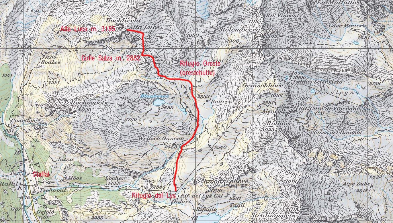 stralcio di mappa CNS e itinerario di salita