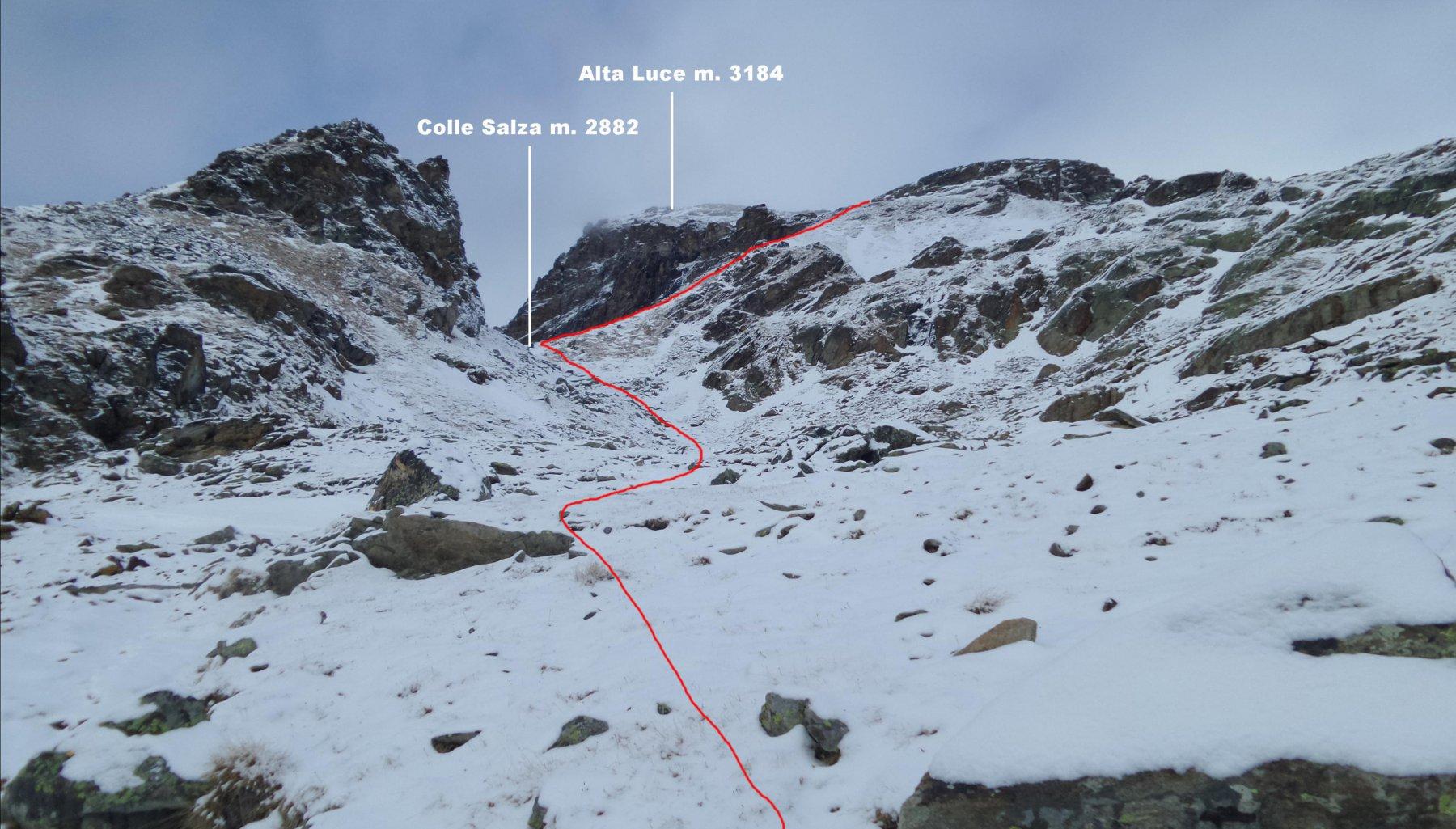 l'itinerario che sale verso la cima, osservato da quota 2700 m