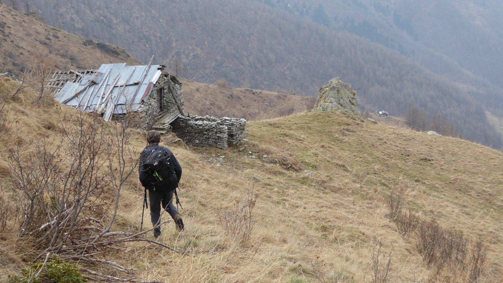 in discesa all'Alpe La Loit,a dx l'Alpe Ramà