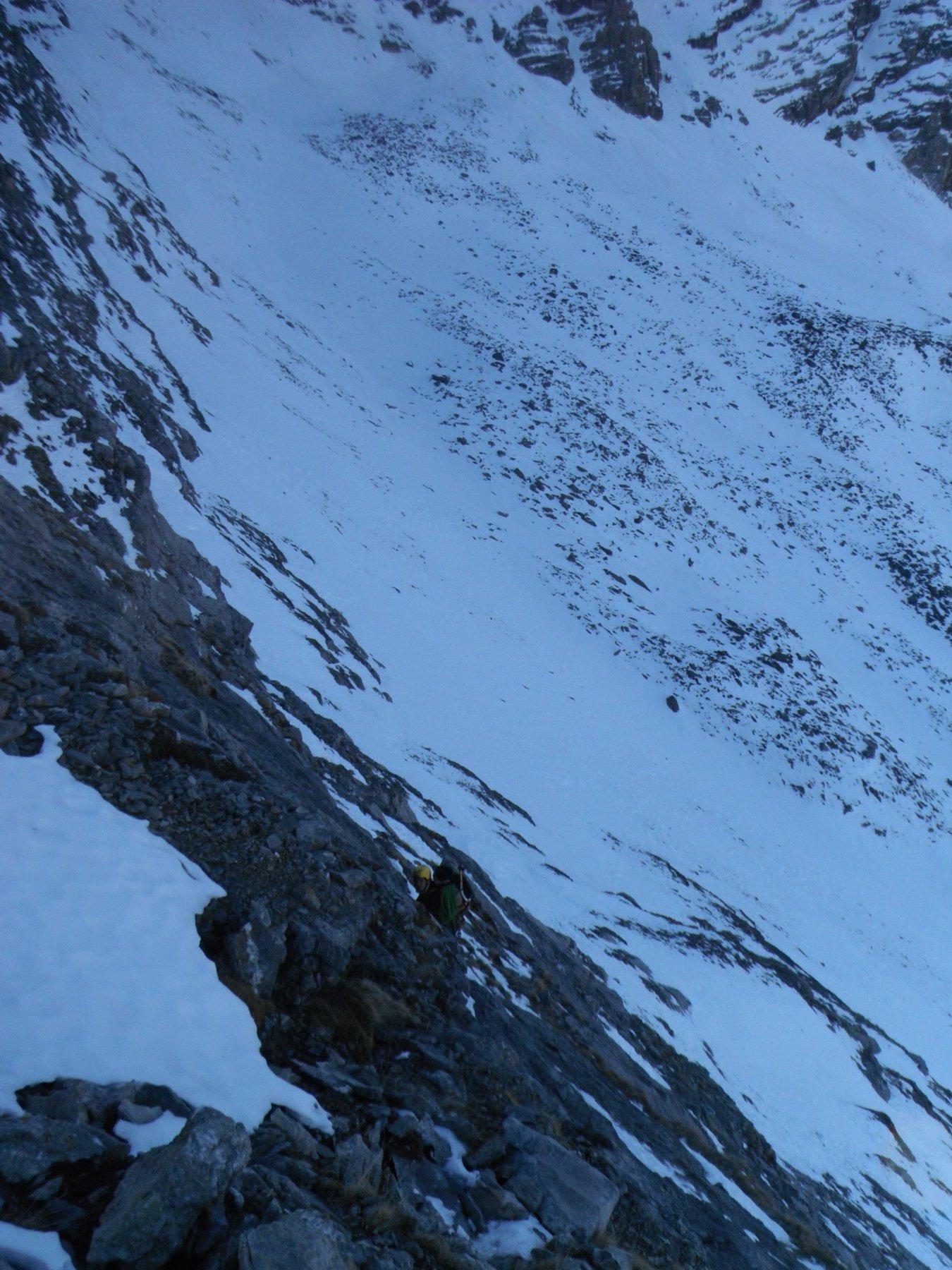 tratto balordo per scendere sulla normale scialpinistica del Gran Roc