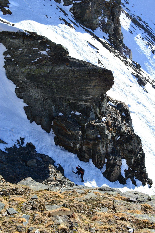 il canalino di accesso al Passo Marani