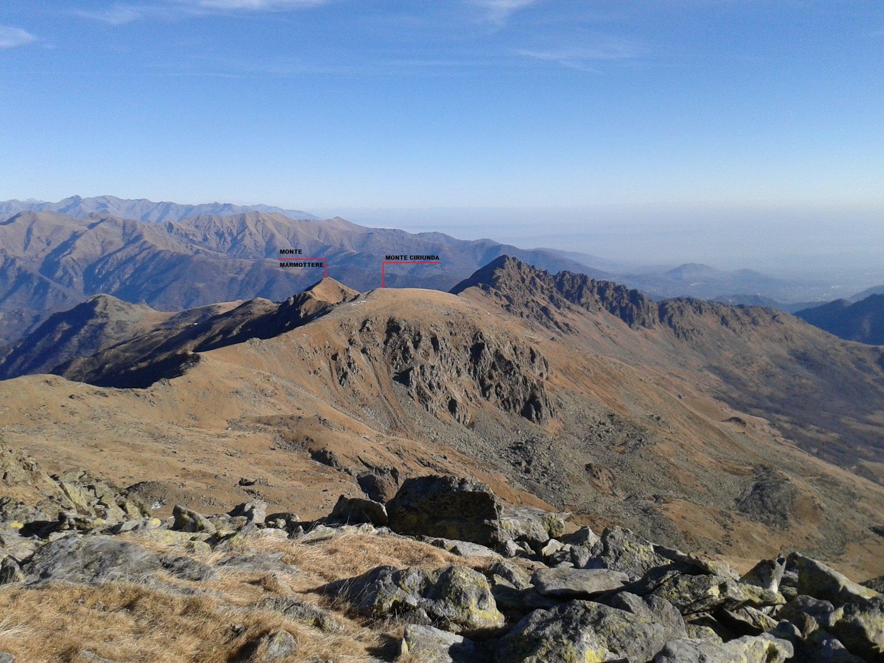 vista su monte Ciriunda e Marmottere dal Ciarm del Prete