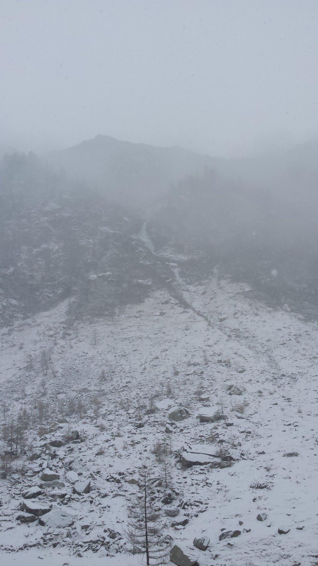 La cascata vista dall'Alpe Cialancia