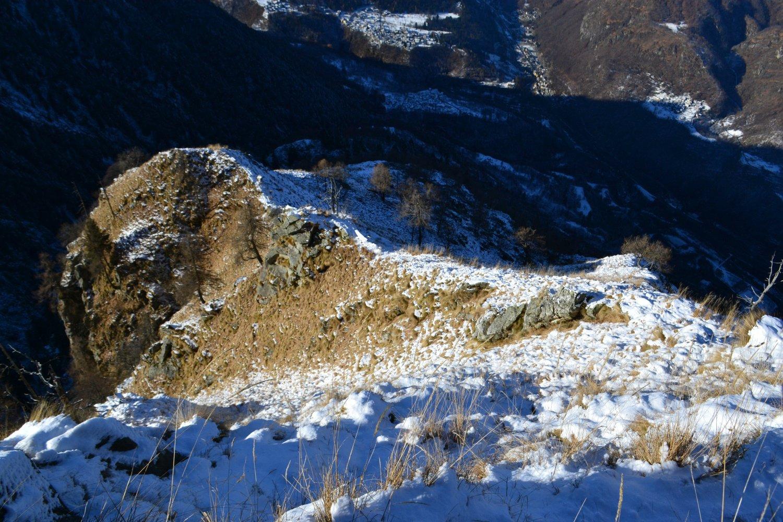 la cresta percorsa vista dall'alto