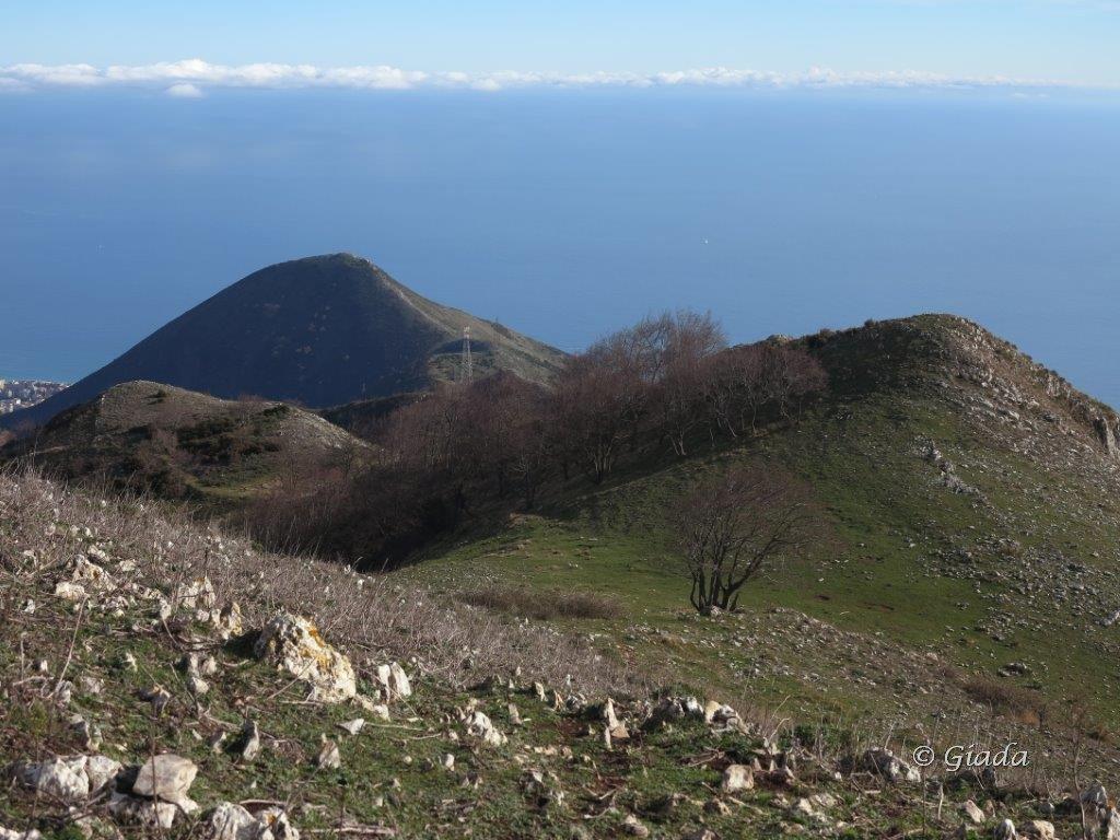 Il crinale verso il Monte Sopra Toirano e il Monte Croce