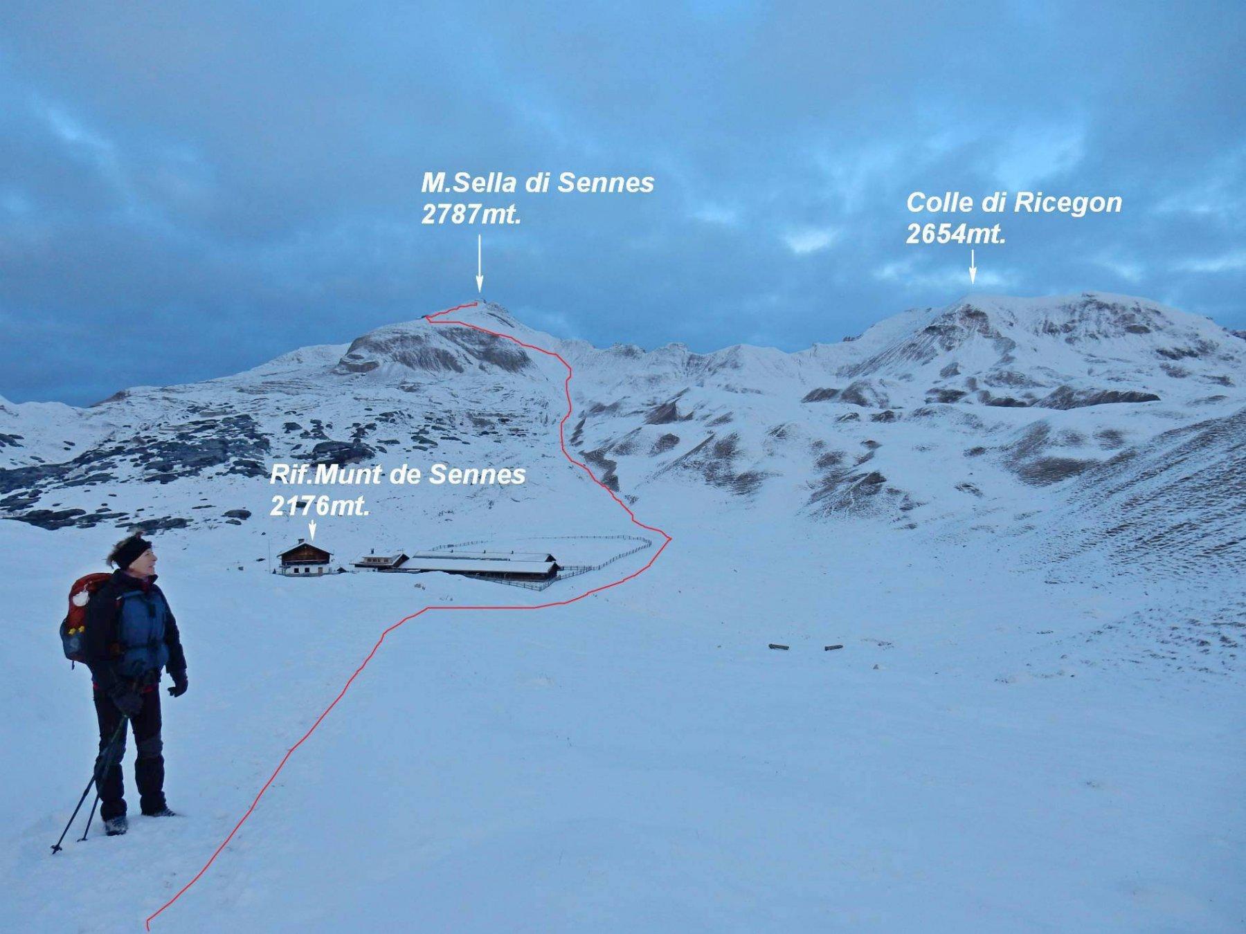 Il M.Sella di Sennes visto dal Rif.Munt de Sennes 2176mt. in rosso la traccia.