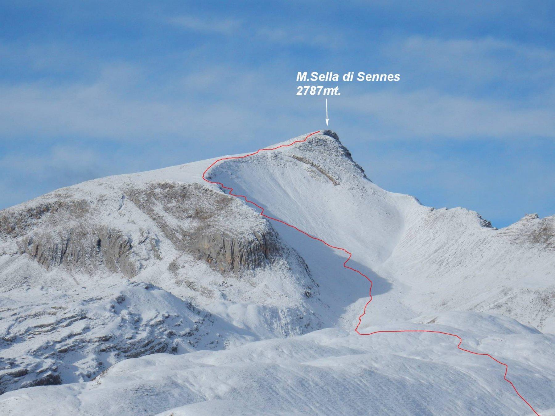 In rosso la traccia di salita effettuata al M.Sella di Sennes.