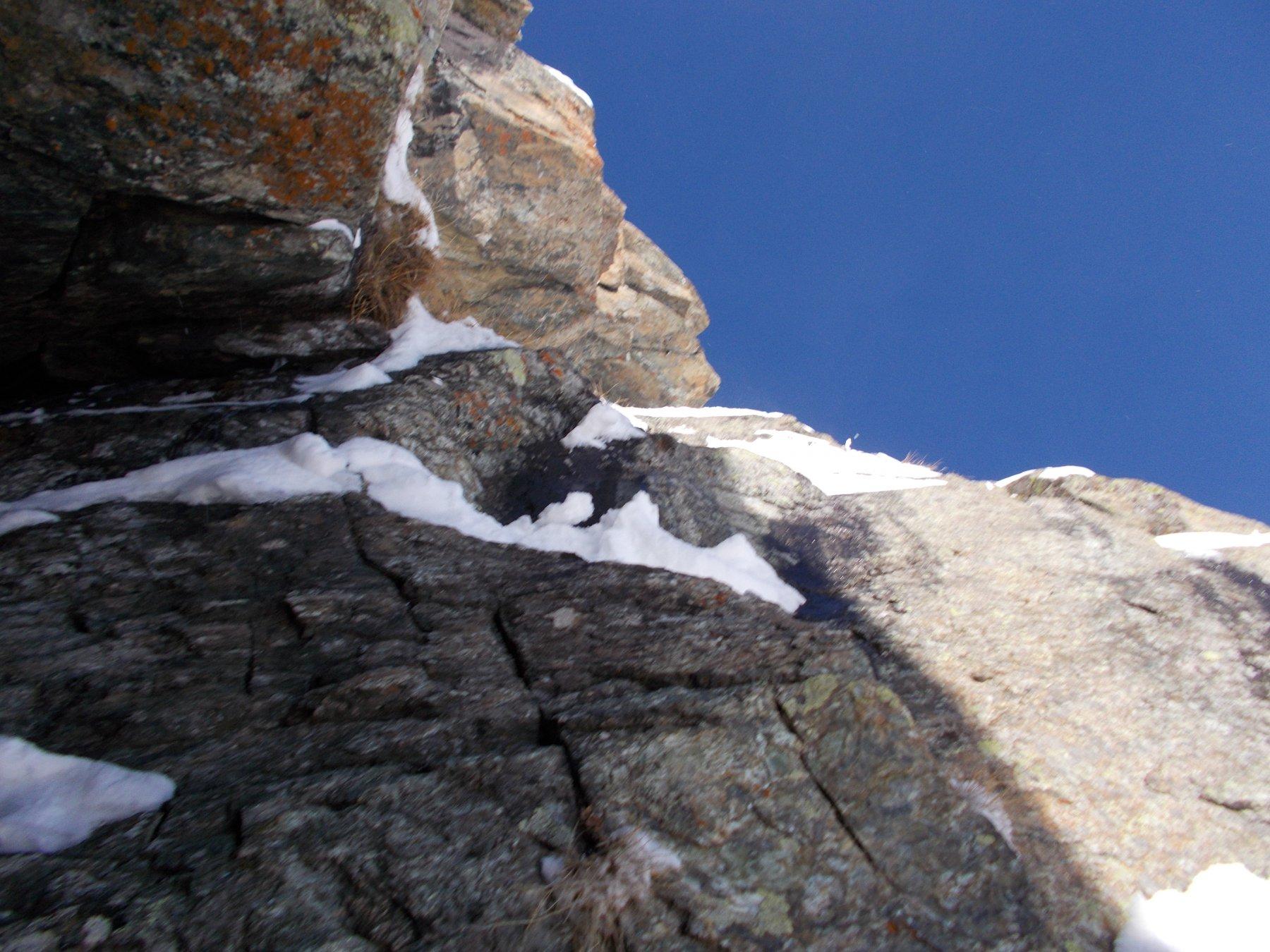 nel salto roccioso a meta' diedro..