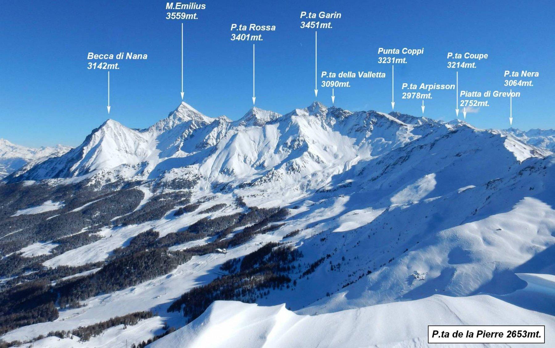 Panorama da P.ta de la Pierre sul comprensorio sciistico di Pila.