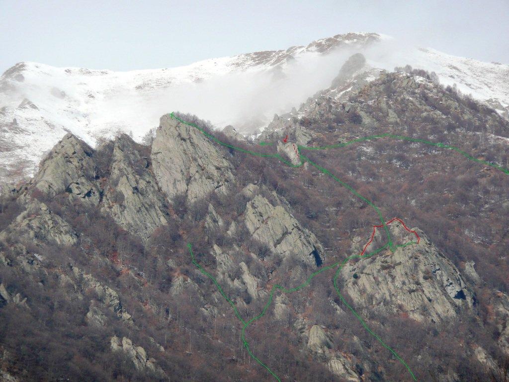Ambiente esplorato, in rosso tratti su roccia
