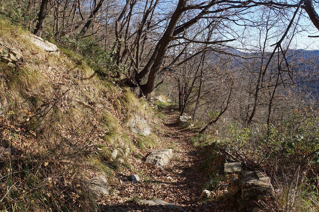 il sentiero verso la dorsale