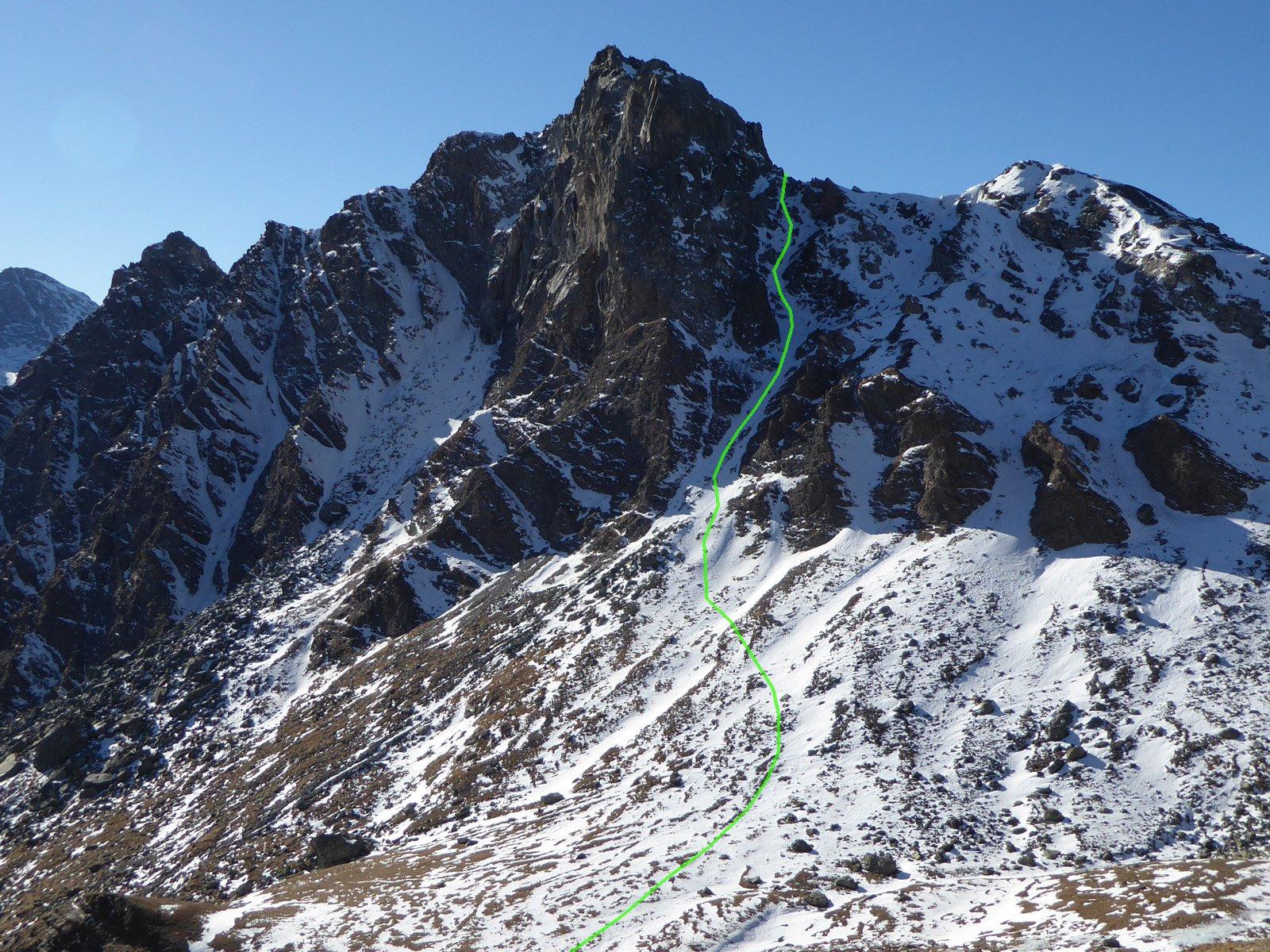 il canale visto dalla punta dell'Alp (dicembre 2015)