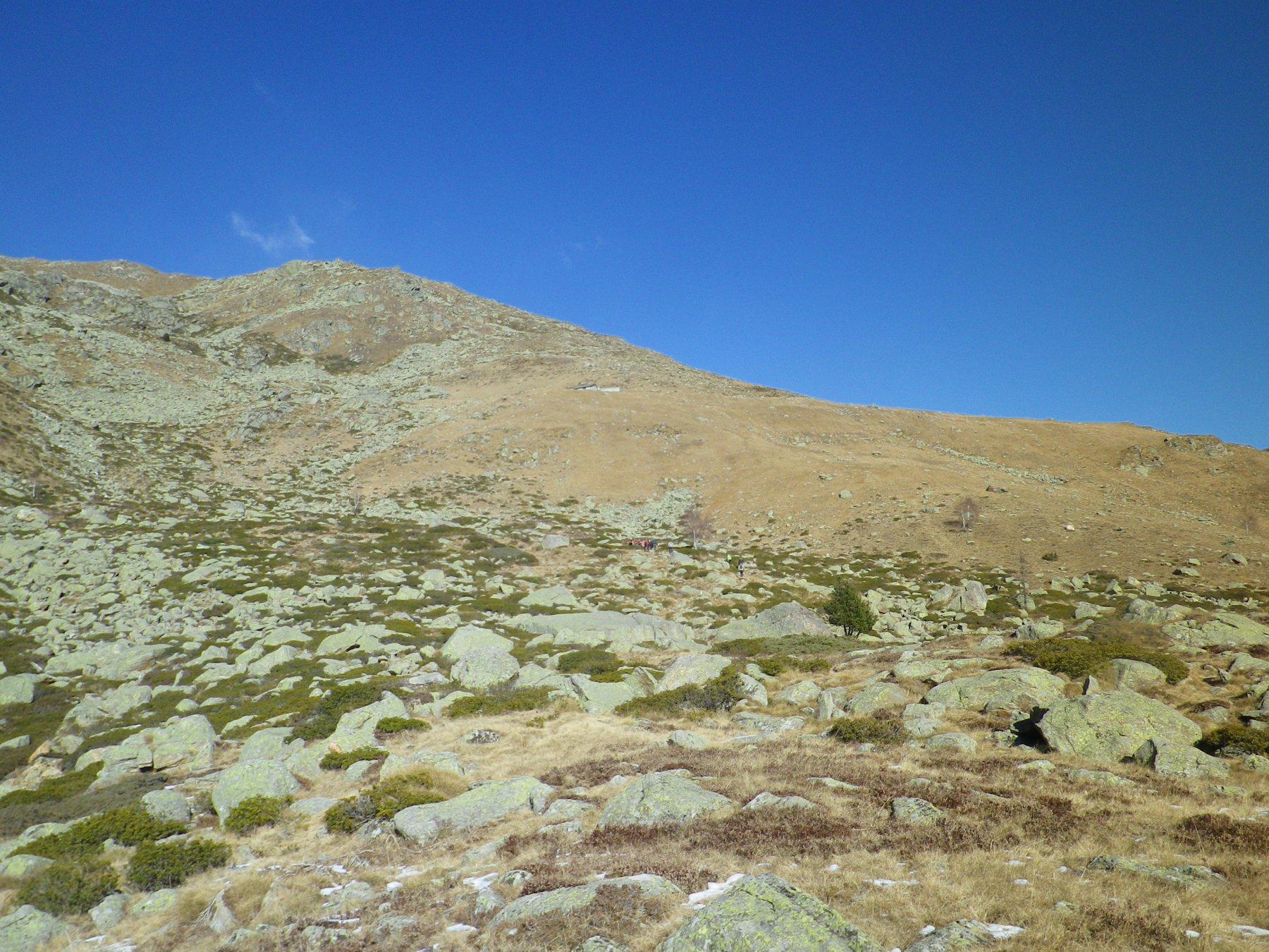 in alto l'alpe Valneira e la cresta della Torretta