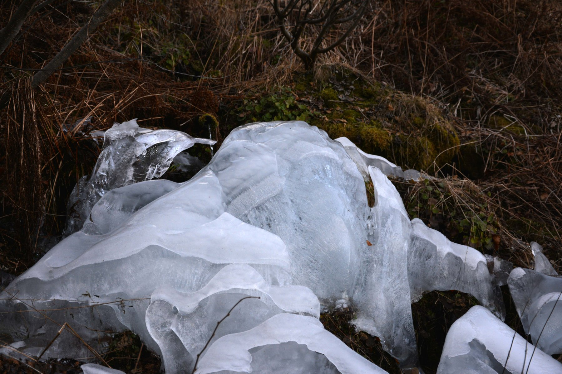 formazioni di ghiaccio attorno a una fontana