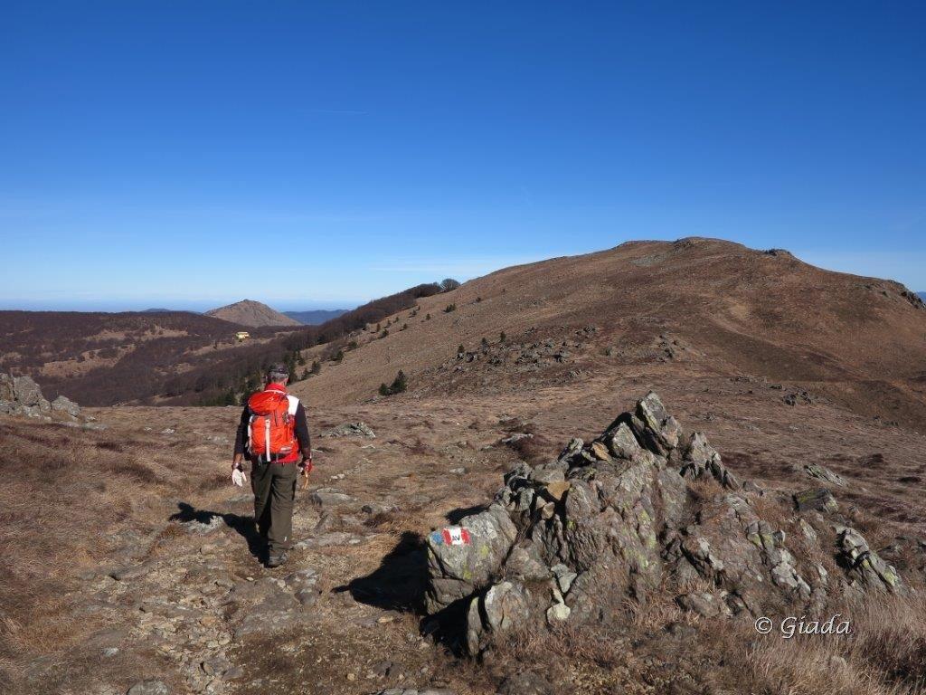 Verso il Reixa, dietro a sinistra il rifugio La Nuvola Sul Mare al Passo del Faiallo