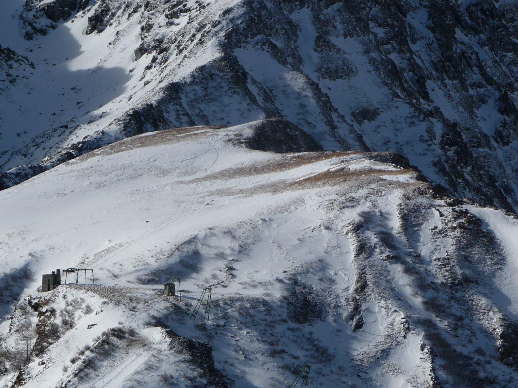 la Pala Rusà e l'arrivo dello skilift dalla Punta delle Lance