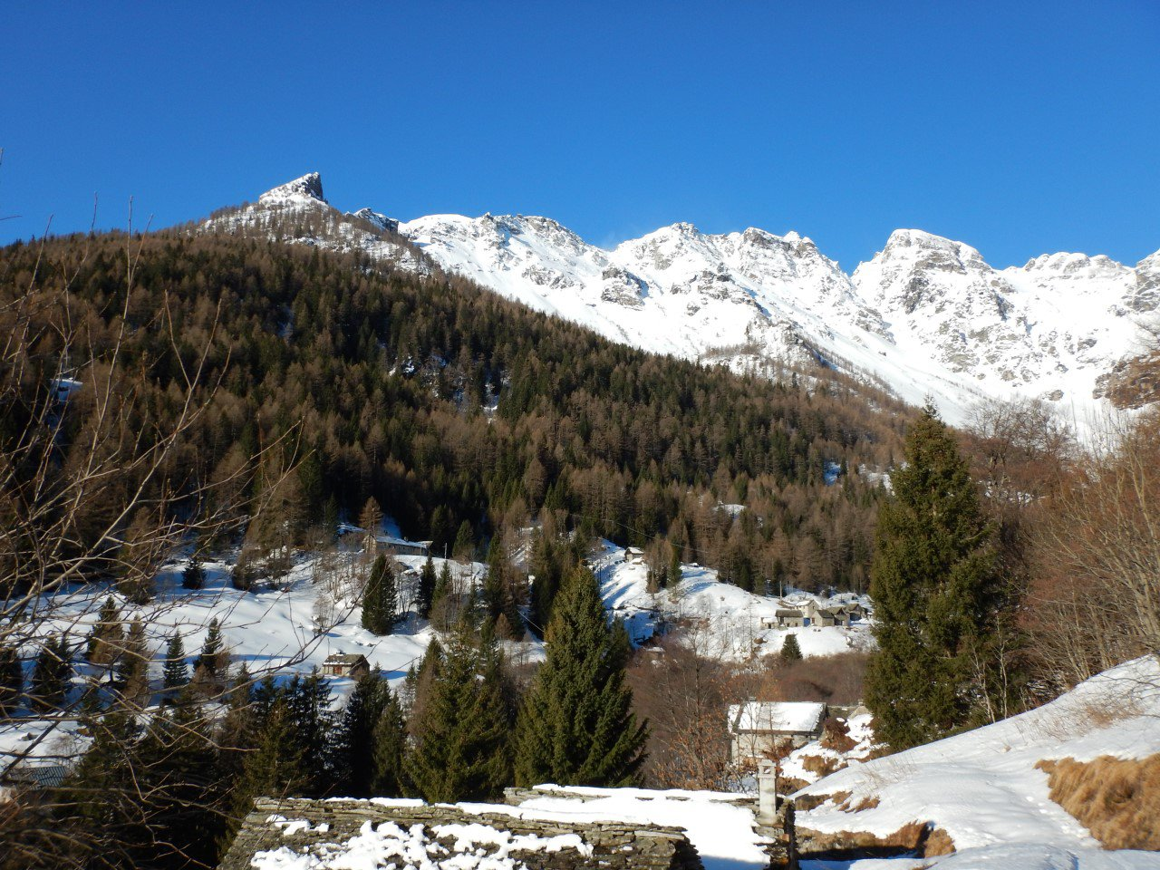 Alpe Vova con dietro le cime Pojala (sx), Tanzonia e Dossone della Valle