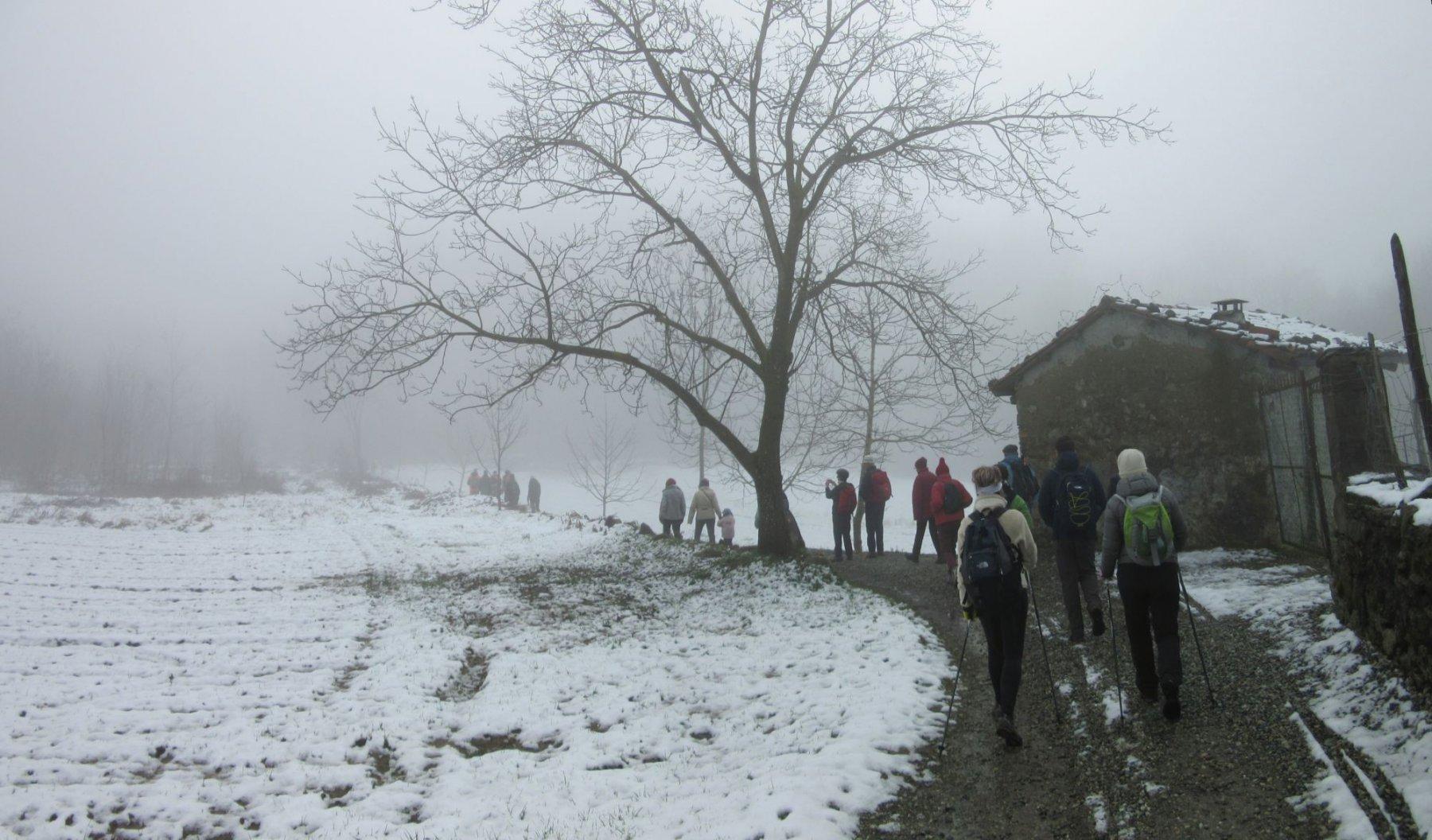 Neve e nebbia sul percorso