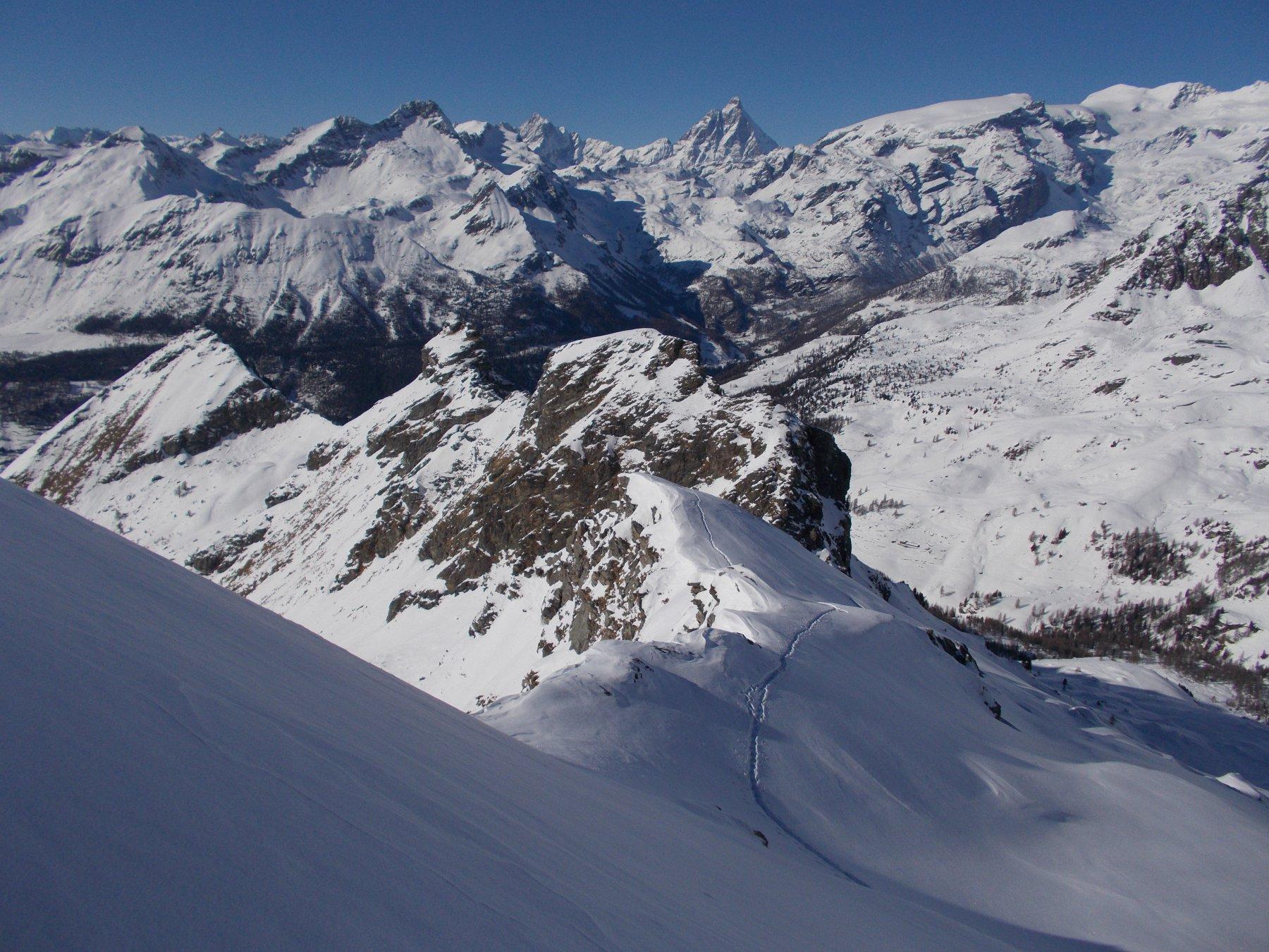 Chateau (Monte), quota 2771 m da Champoluc, anello valloni Mascognaz e Cuneaz 2016-03-10