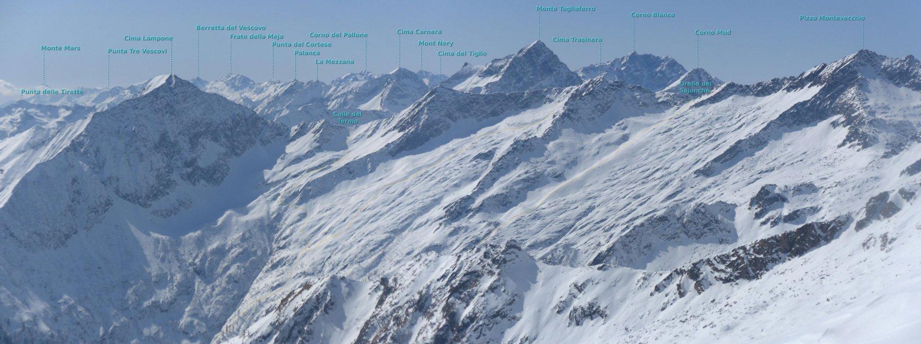 Panoramica sul lato opposto della valle, con alcune gite classiche da Carcoforo