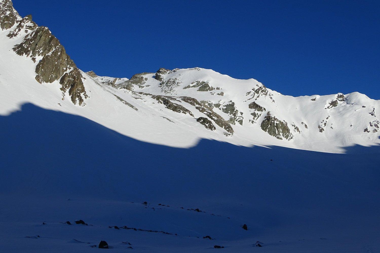 sul Plan Sabla; a sinistra il pendio ripido per accedere al Glacier de Aroletta