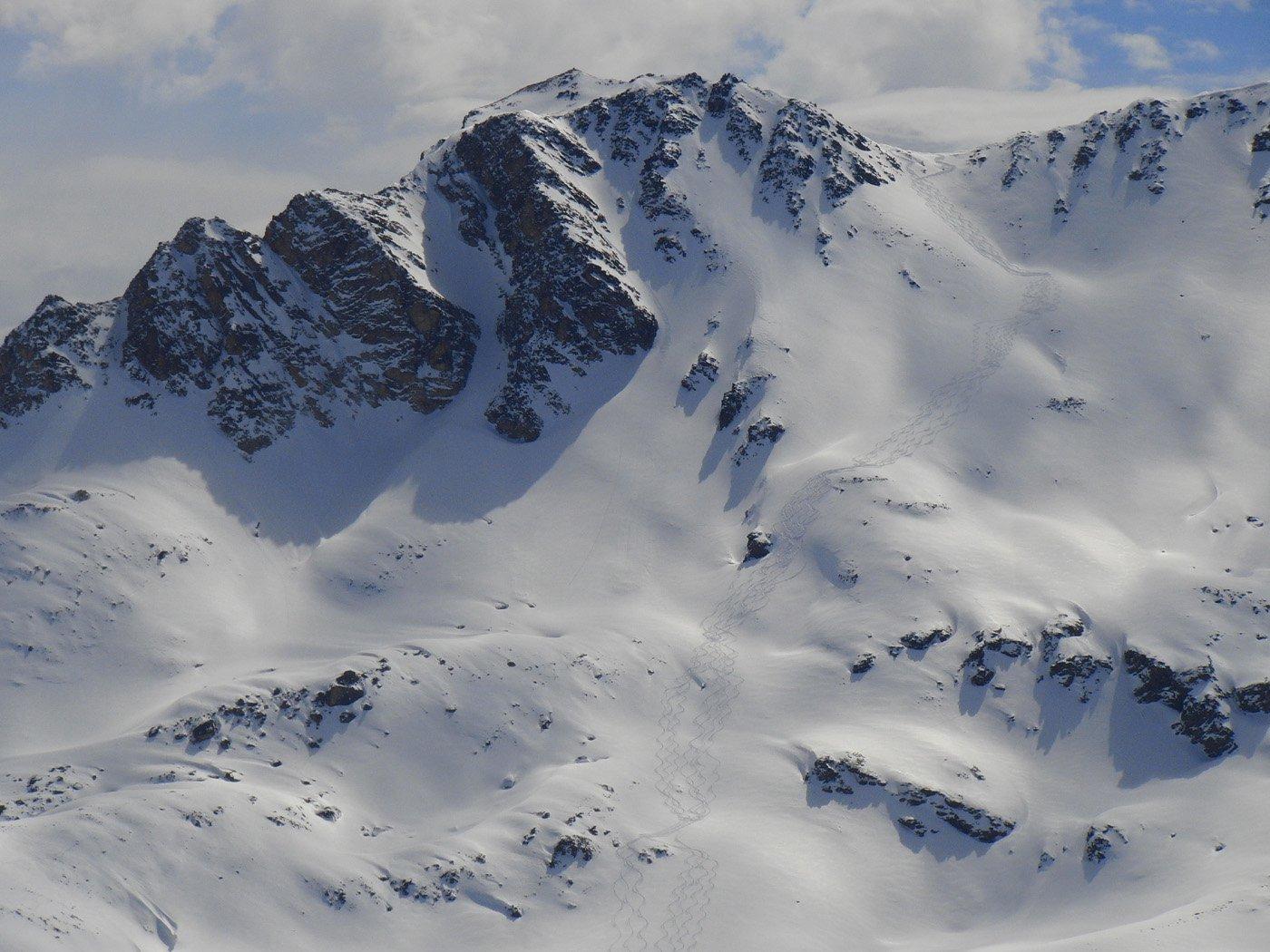 Le Rocher Blanc e versante di discesa
