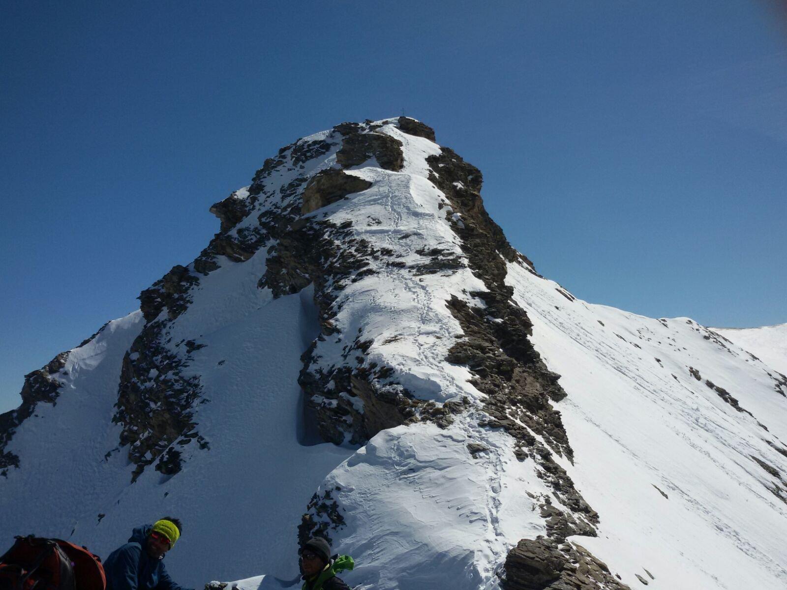la punta vera, la breve parte alpinistica