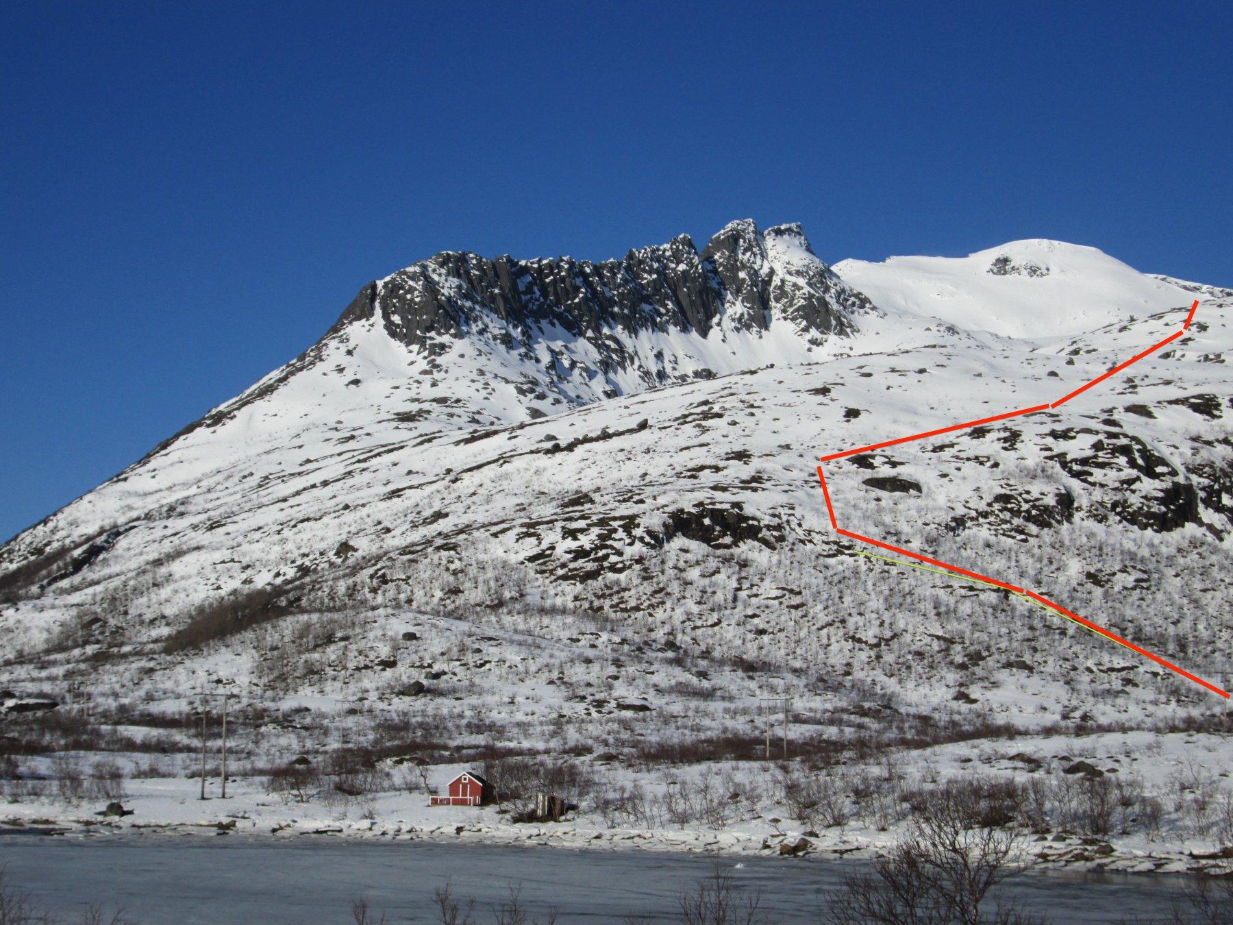 Parte iniziale dell'itinerario con la vetta sullo sfondo