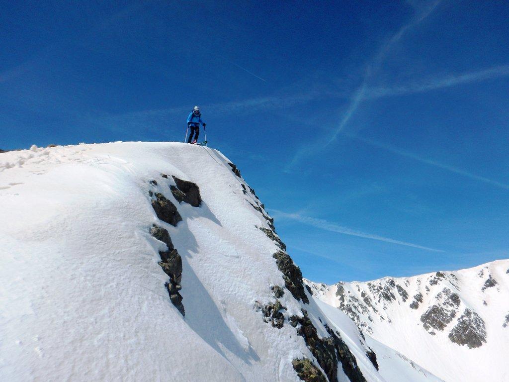 Mattia in partenza dalla cima