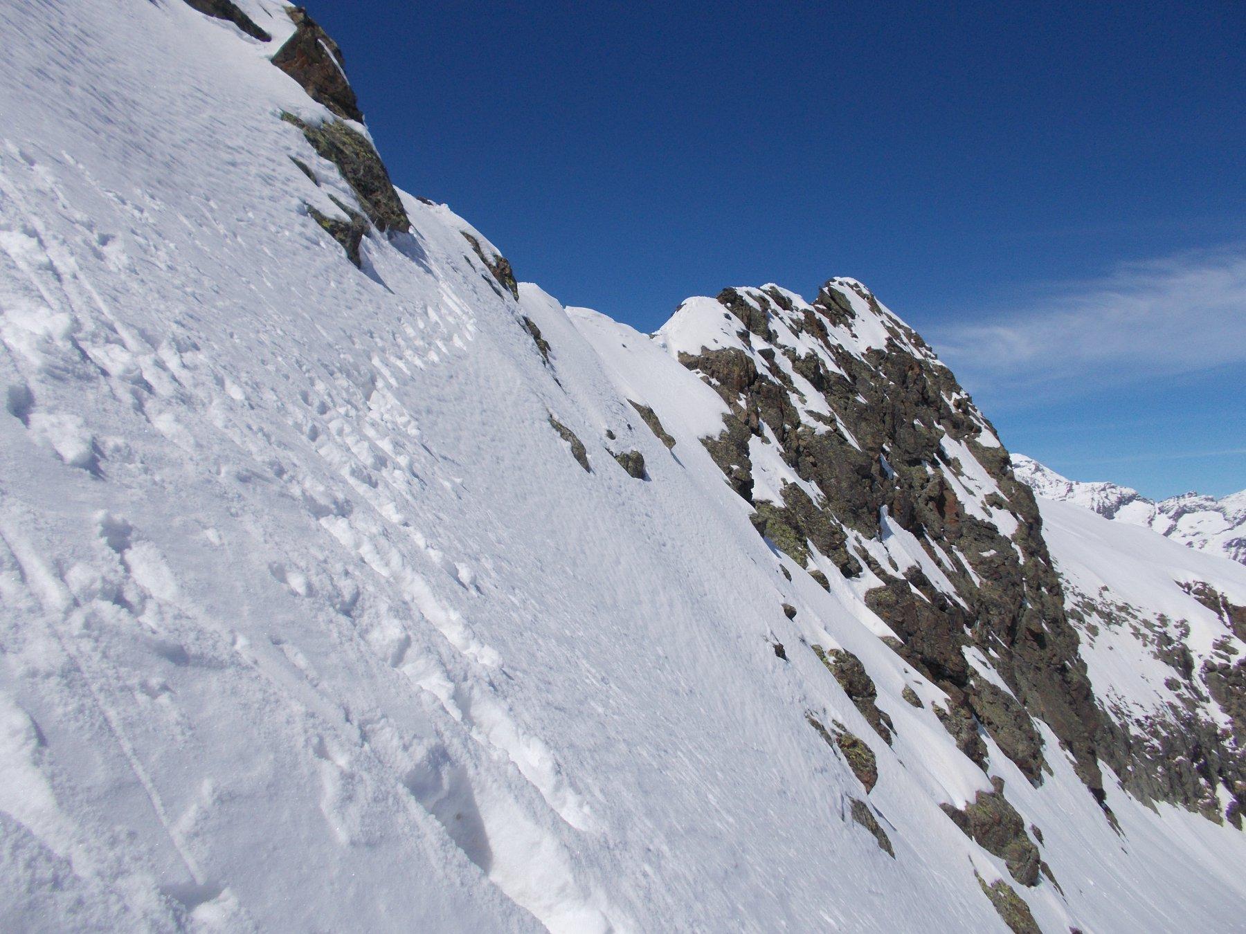 a dx..il tratto alpinistico per la Cima degli Ortetti..