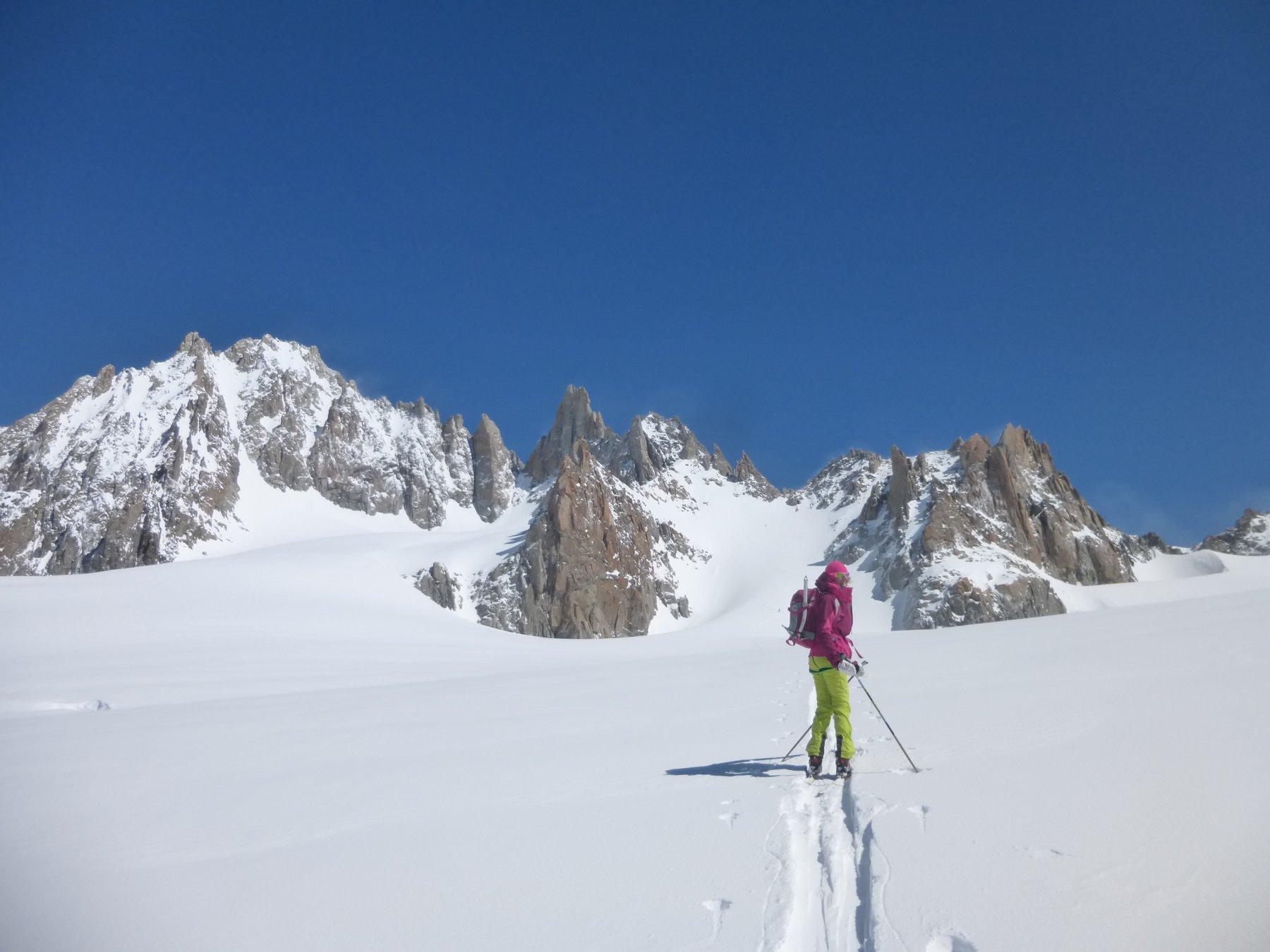 sul ghiacciaio du Tour, l'Aiguille du Tour sullo sfondo….